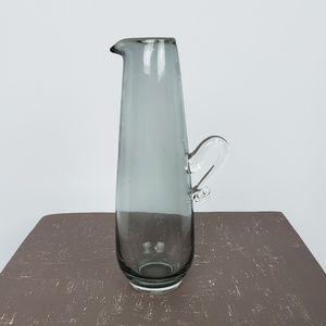 Pitcher Small Handblown Glass Smoky Gray
